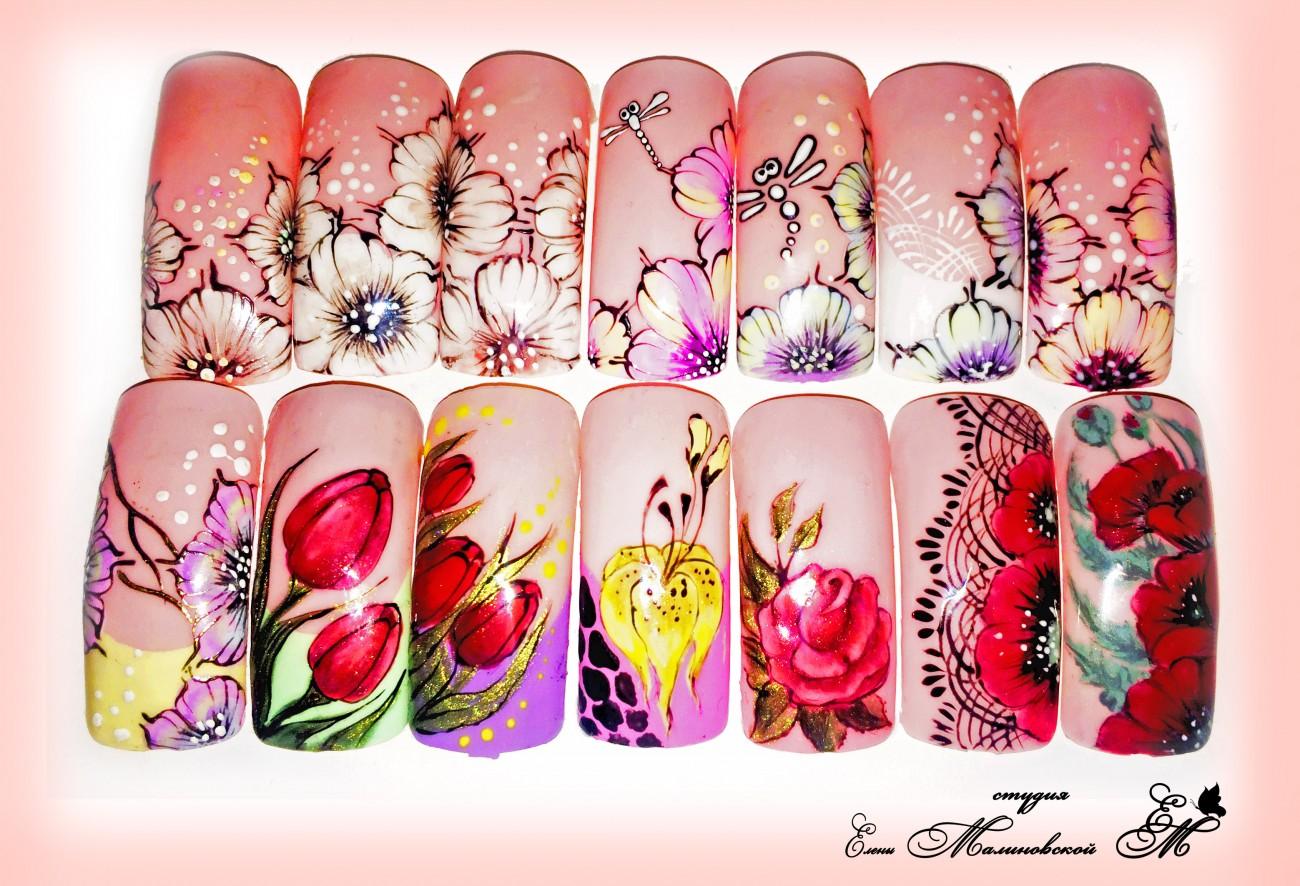 Как нарисовать цветок на ногтях - пошаговые техники